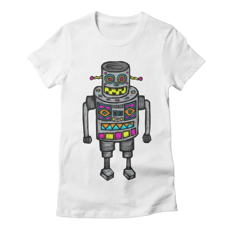 Robot 67 Women's Fitted T-Shirt by Sean StarWars' Artist Shop