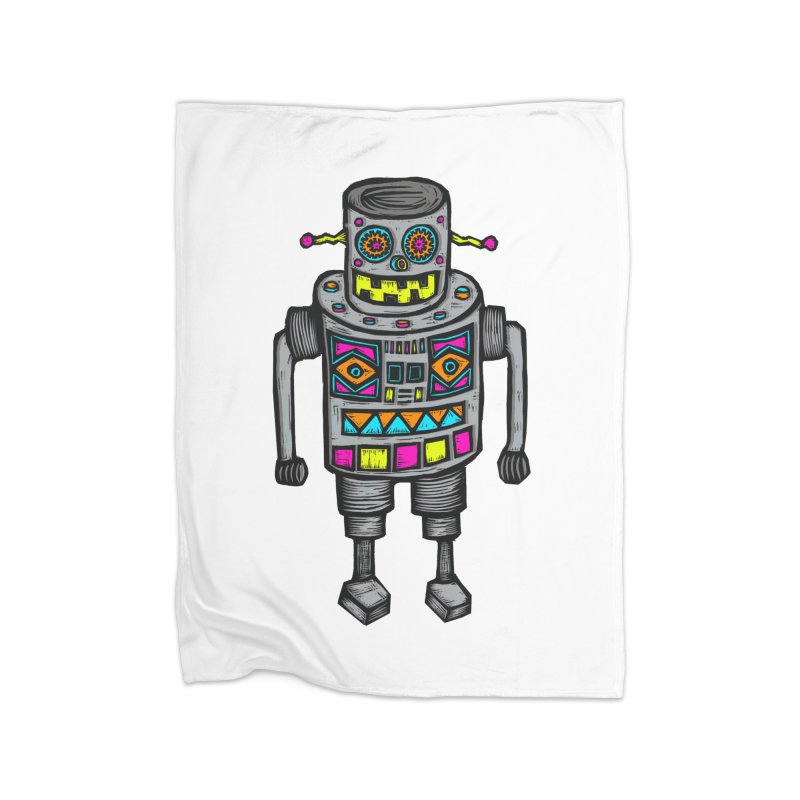Robot 67 Home Fleece Blanket Blanket by Sean StarWars' Artist Shop