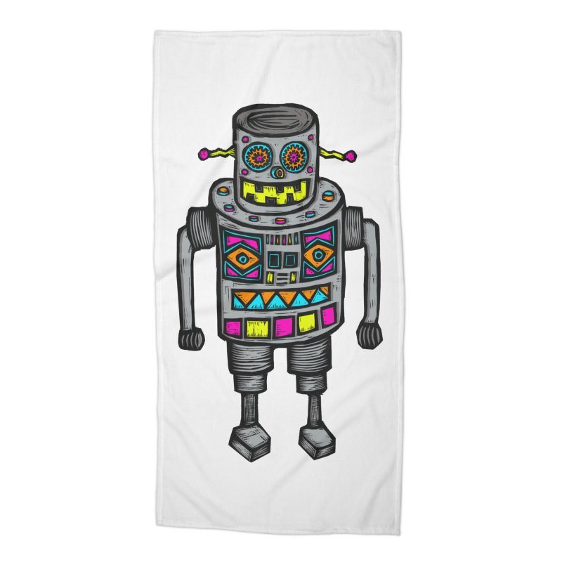 Robot 67 Accessories Beach Towel by Sean StarWars' Artist Shop