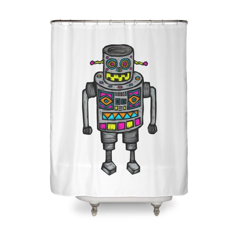 Robot 67 Home Shower Curtain by Sean StarWars' Artist Shop