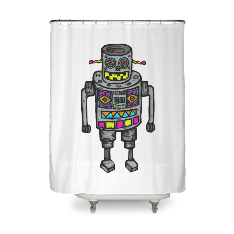 Robot 67 Home Shower Curtain by Sean StarWars' Artist Shop