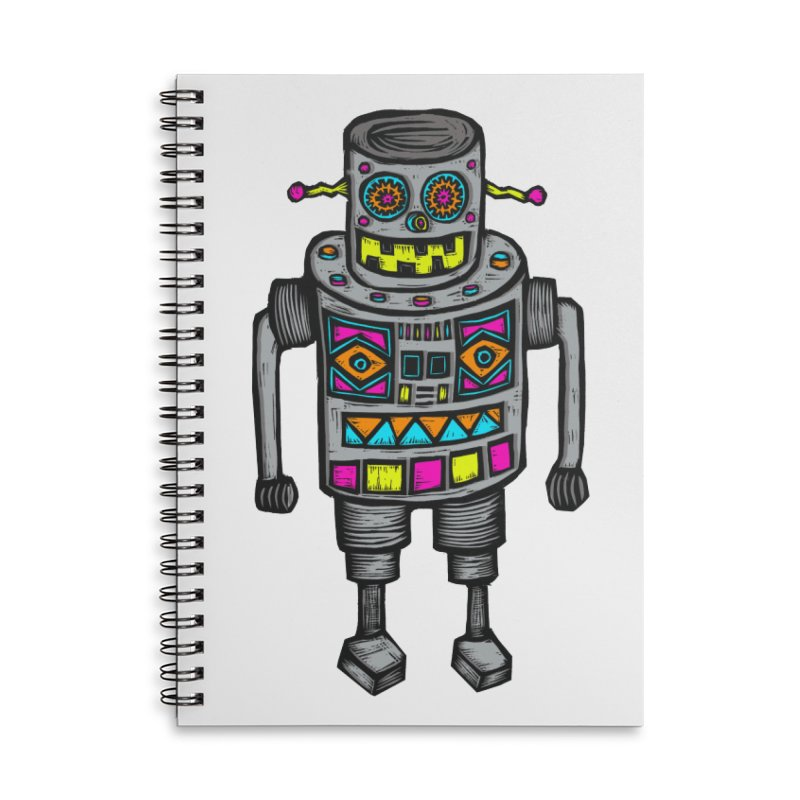 Robot 67 Accessories Lined Spiral Notebook by Sean StarWars' Artist Shop