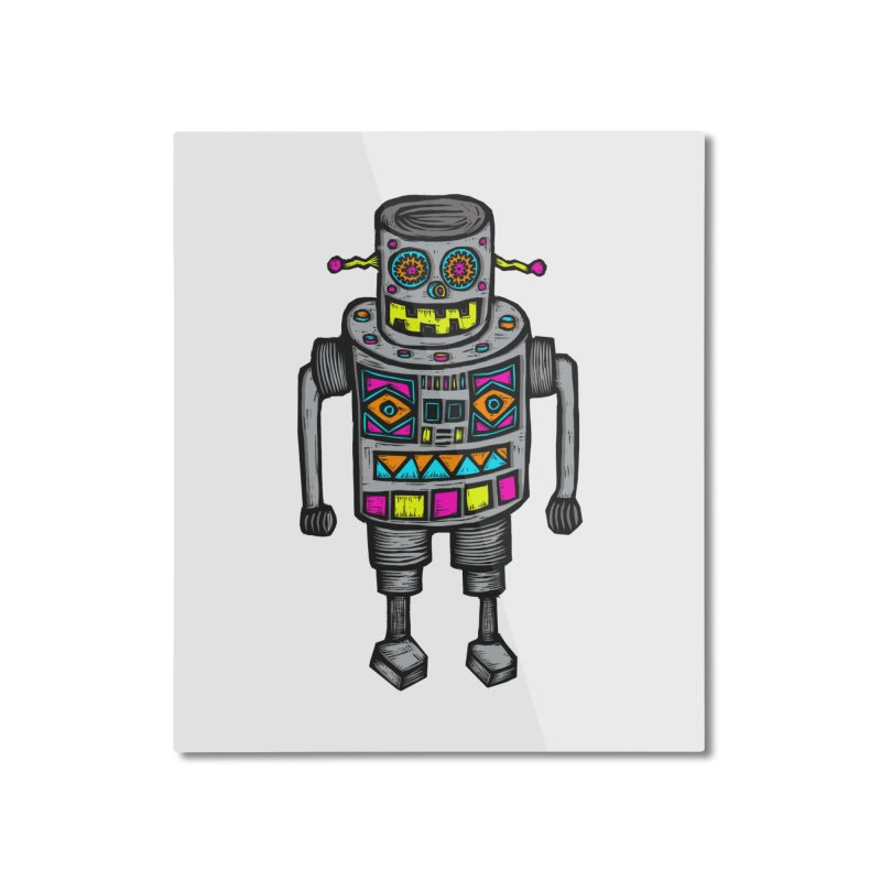 Robot 67 Home Mounted Aluminum Print by Sean StarWars' Artist Shop