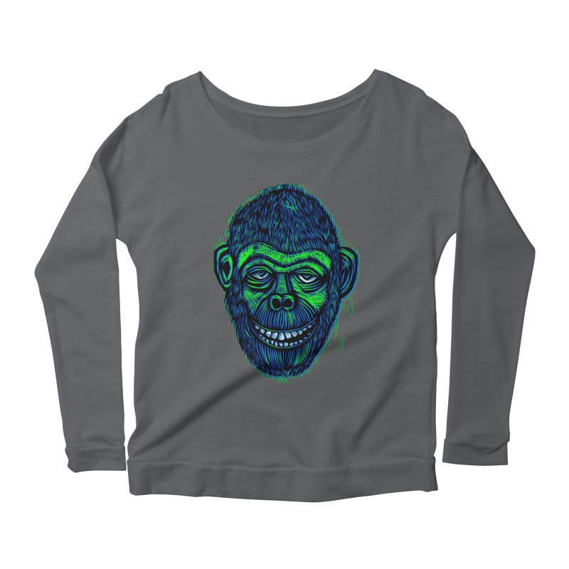 Chimp Women's Scoop Neck Longsleeve T-Shirt by Sean StarWars' Artist Shop
