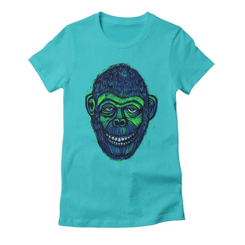 Chimp Women's Fitted T-Shirt by Sean StarWars' Artist Shop