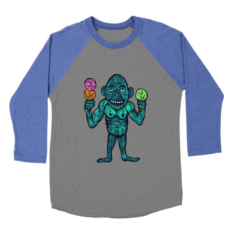 Ice Cream Chimp Men's Baseball Triblend Longsleeve T-Shirt by Sean StarWars' Artist Shop