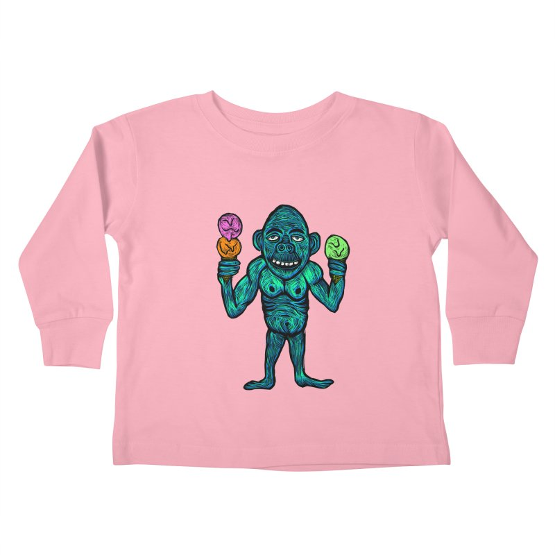 Ice Cream Chimp Kids Toddler Longsleeve T-Shirt by Sean StarWars' Artist Shop