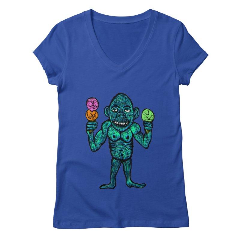 Ice Cream Chimp Women's Regular V-Neck by Sean StarWars' Artist Shop