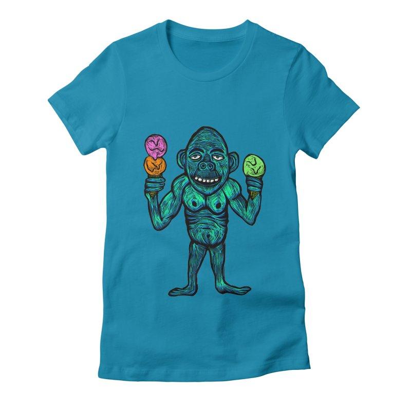 Ice Cream Chimp Women's Fitted T-Shirt by Sean StarWars' Artist Shop