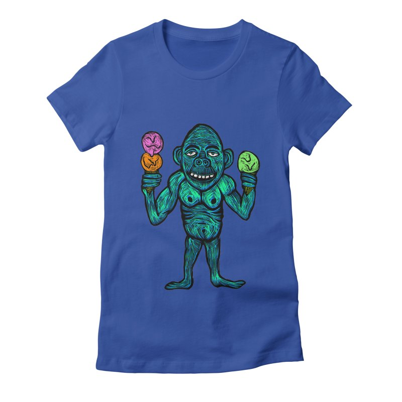 Ice Cream Chimp Women's Fitted T-Shirt by Sean StarWars' Artist Shop