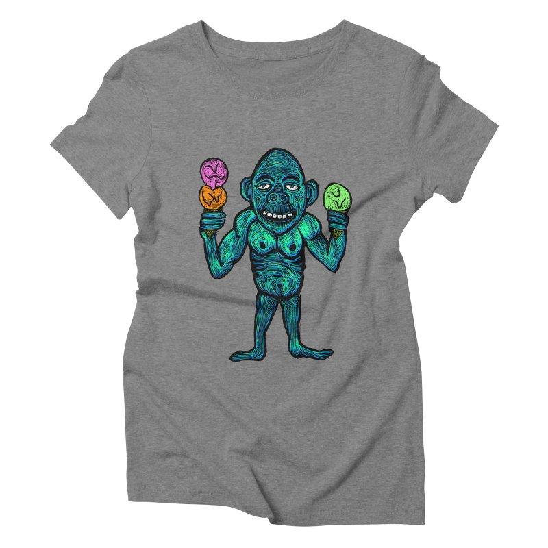 Ice Cream Chimp Women's Triblend T-Shirt by Sean StarWars' Artist Shop