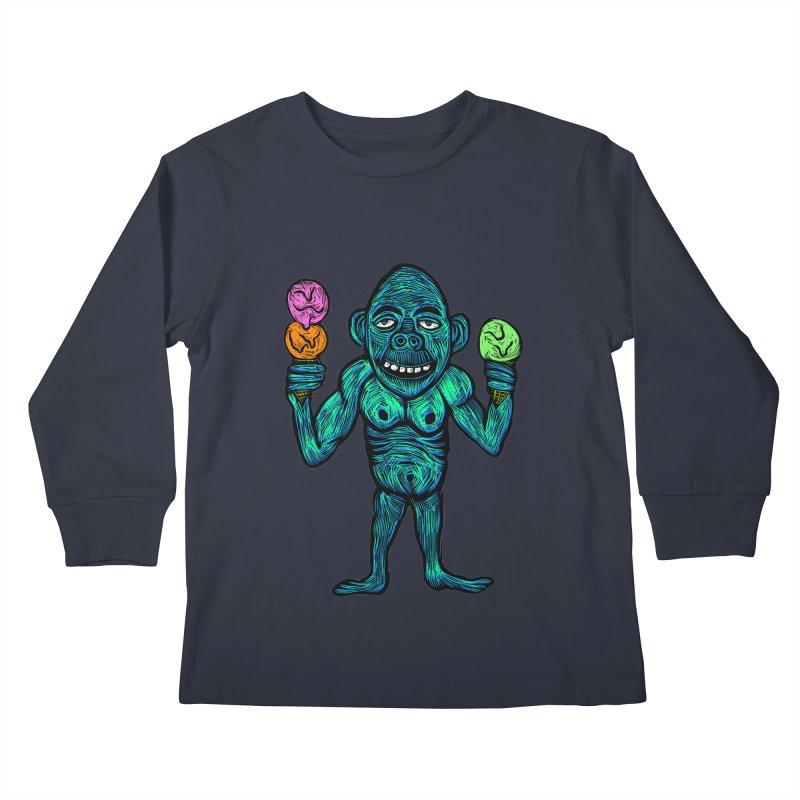 Ice Cream Chimp Kids Longsleeve T-Shirt by Sean StarWars' Artist Shop