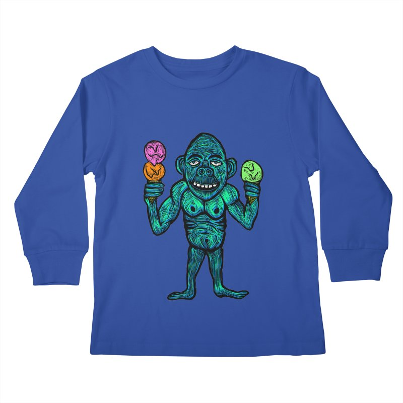 Ice Cream Chimp Kids Longsleeve T-Shirt by Sean StarWars' Artist Shop