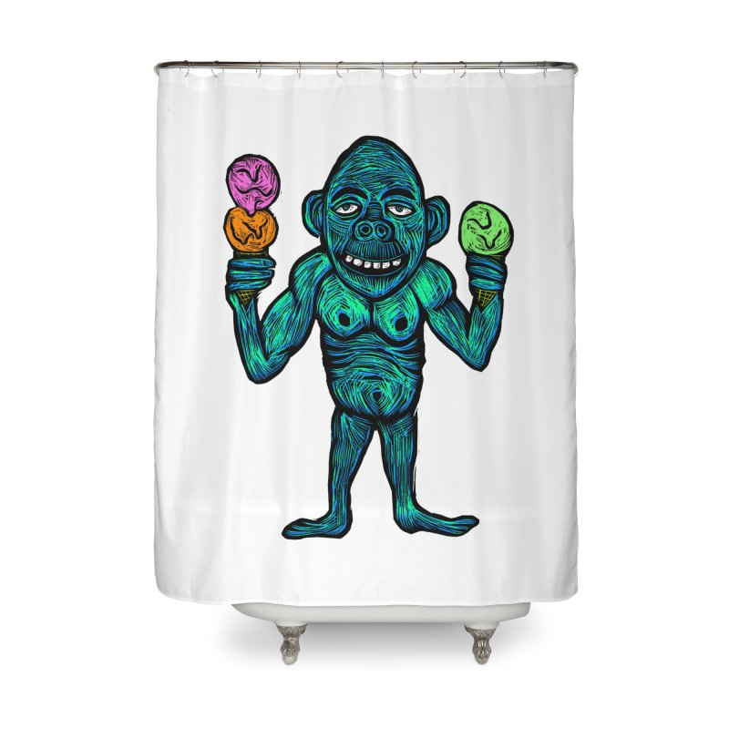 Ice Cream Chimp Home Shower Curtain by Sean StarWars' Artist Shop