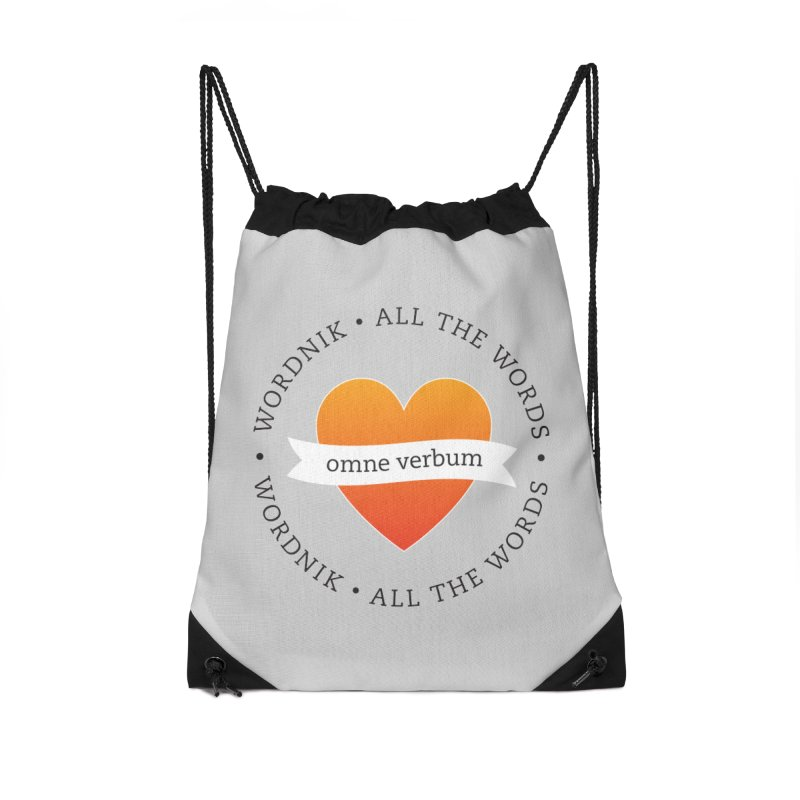 Omne Verbum—All The Words! Accessories Drawstring Bag Bag by wordnik's Artist Shop