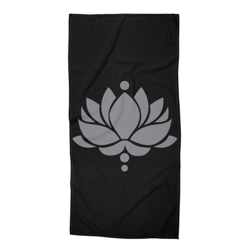 Grey Lotus Flower Accessories Beach Towel by Working Whatnot's Artist Shop