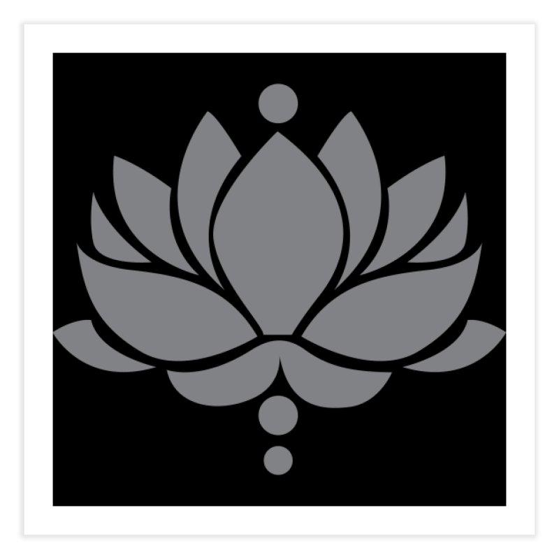 Grey Lotus Flower Home Fine Art Print by Working Whatnot's Artist Shop