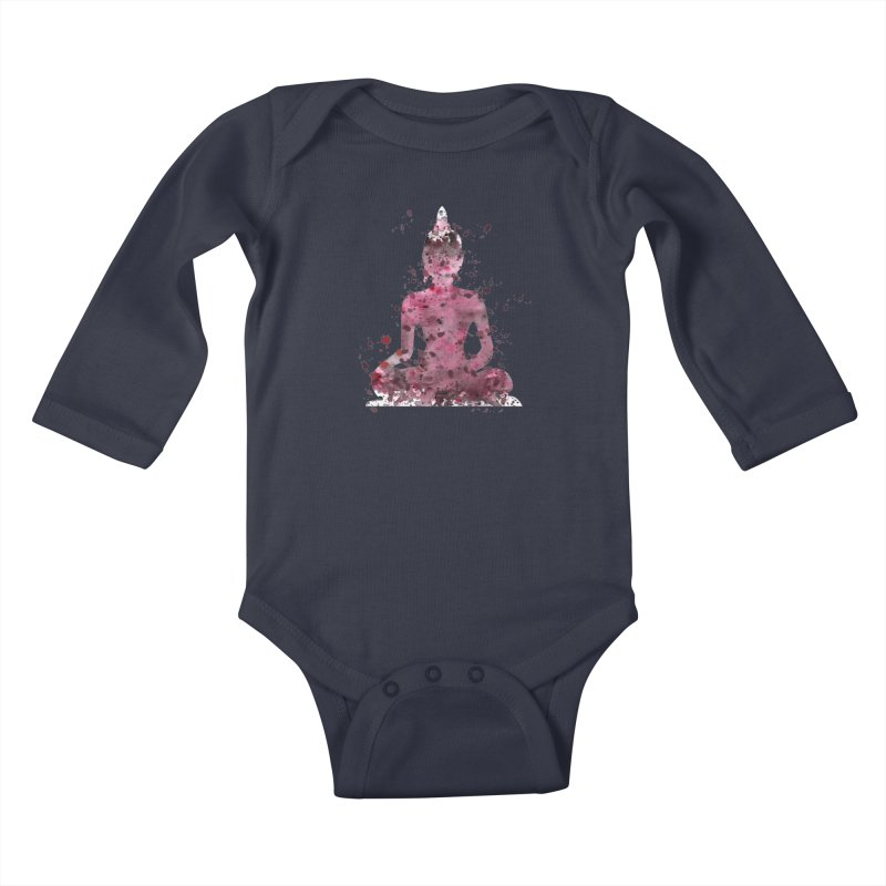 Red Buddha Bliss Kids Baby Longsleeve Bodysuit by Working Whatnot's Artist Shop