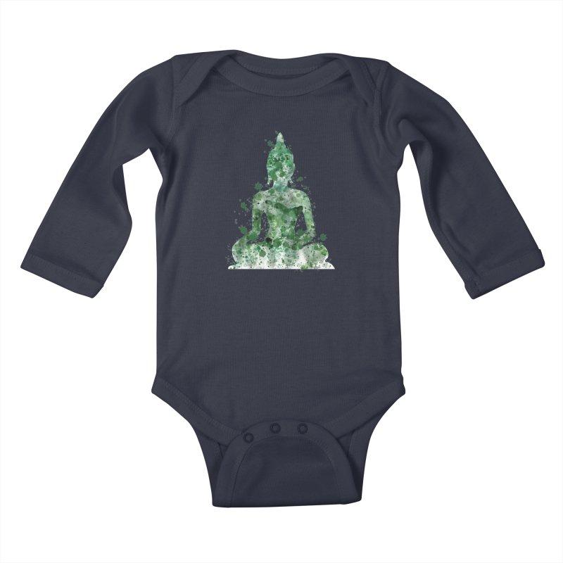 Green Buddha Bliss Kids Baby Longsleeve Bodysuit by Working Whatnot's Artist Shop