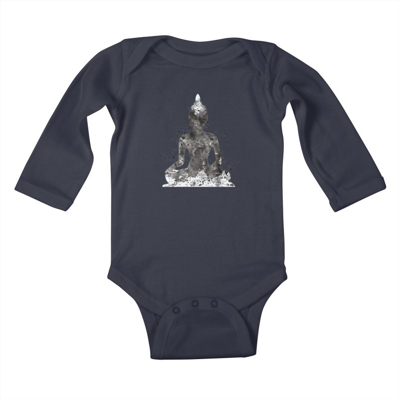 Black Buddha Bliss Kids Baby Longsleeve Bodysuit by Working Whatnot's Artist Shop