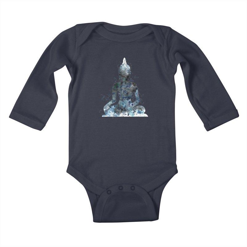 Buddha Spiritual Bliss Kids Baby Longsleeve Bodysuit by Working Whatnot's Artist Shop