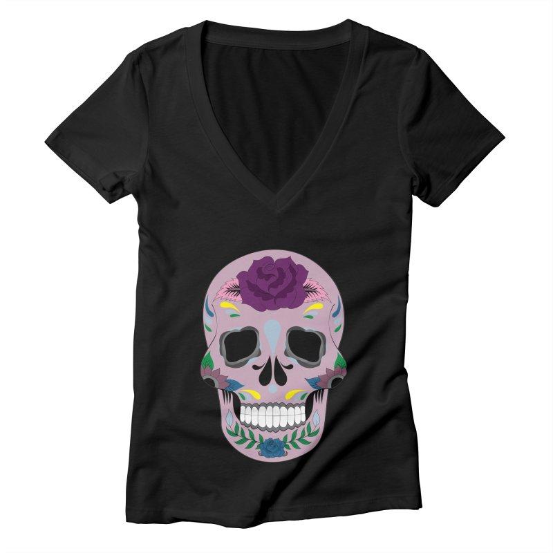 Pink Sugar Skull Women's V-Neck by Working Whatnot's Artist Shop