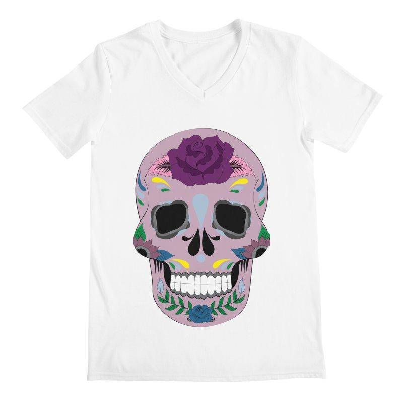 Pink Sugar Skull Men's V-Neck by Working Whatnot's Artist Shop