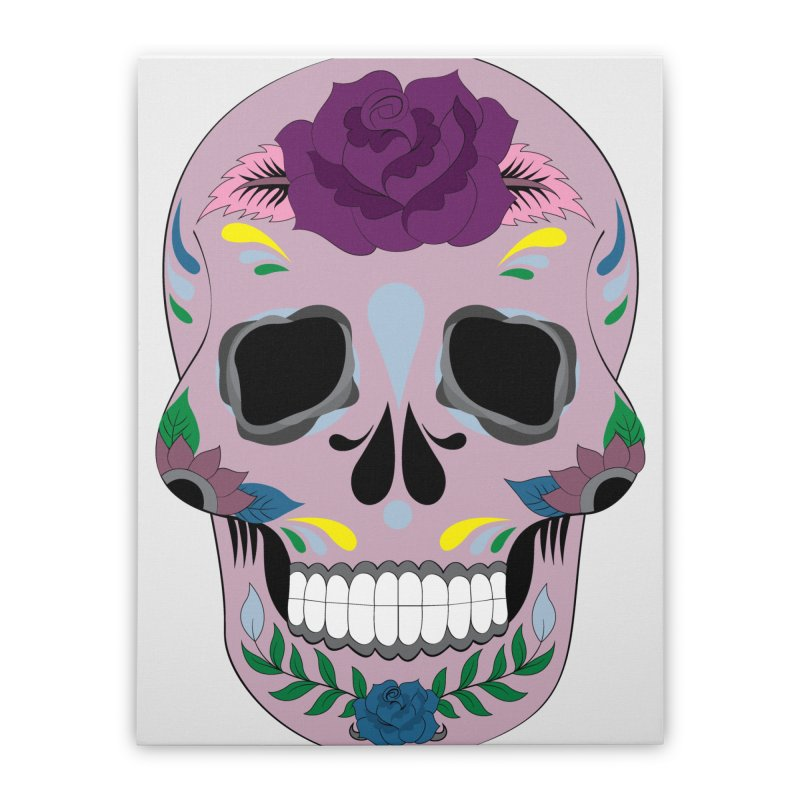 Pink Sugar Skull Home Stretched Canvas by Working Whatnot's Artist Shop