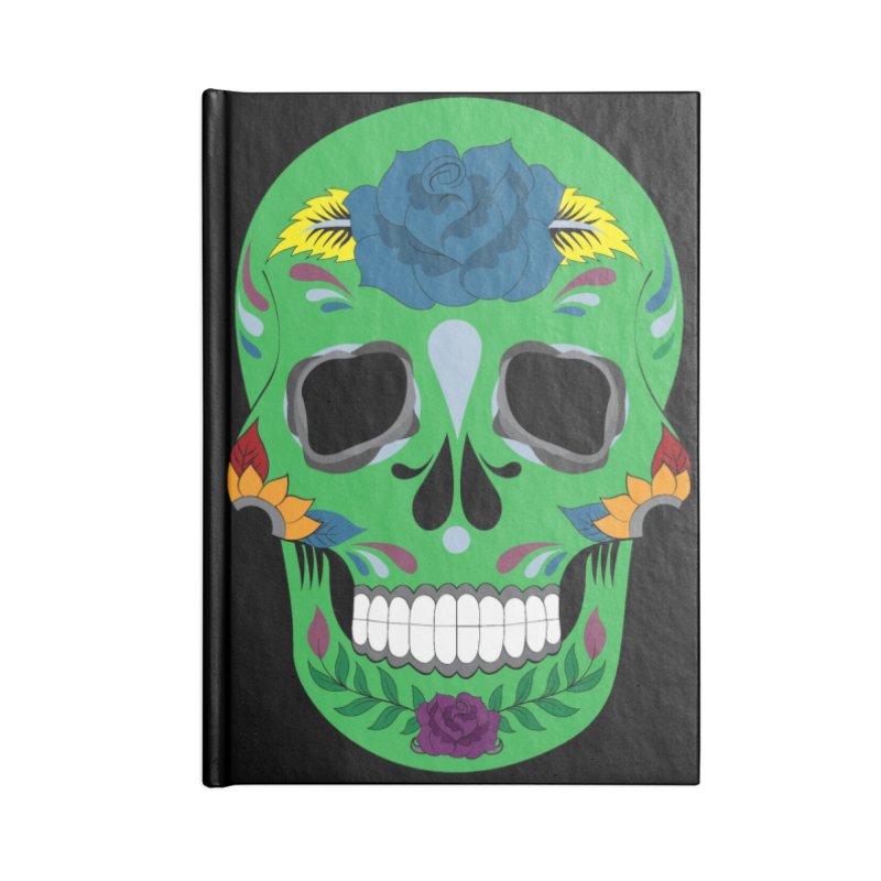 Green Sugar Skull Accessories Notebook by Working Whatnot's Artist Shop