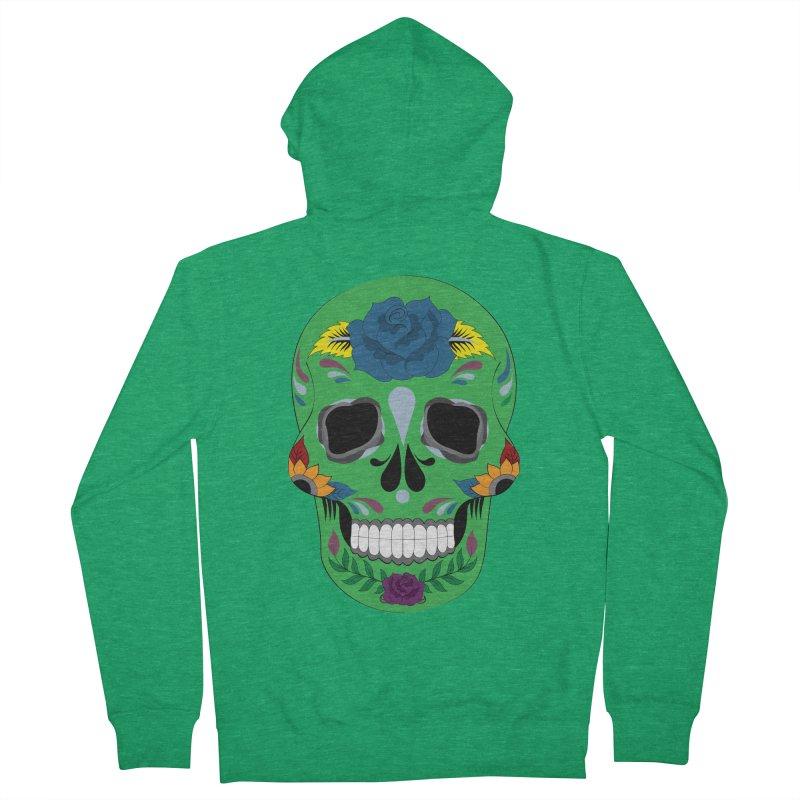 Green Sugar Skull Women's Zip-Up Hoody by Working Whatnot's Artist Shop
