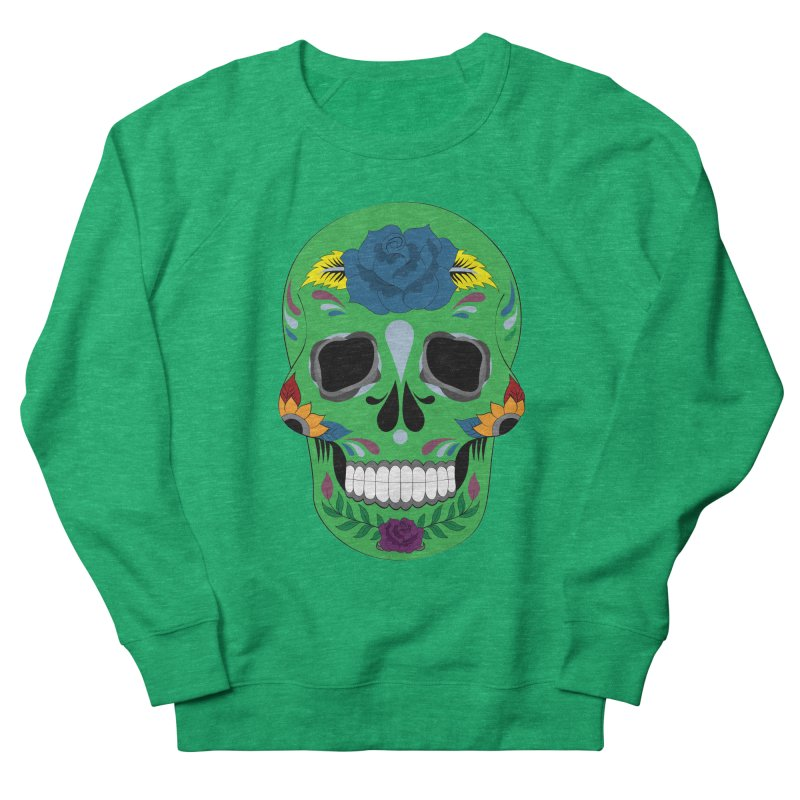 Green Sugar Skull Women's Sweatshirt by Working Whatnot's Artist Shop