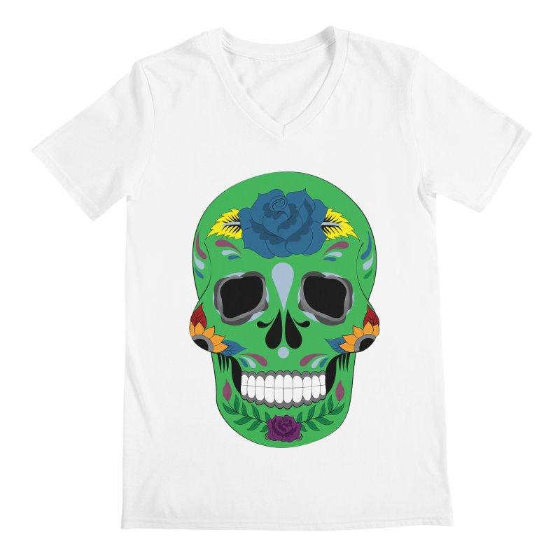 Green Sugar Skull Men's V-Neck by Working Whatnot's Artist Shop