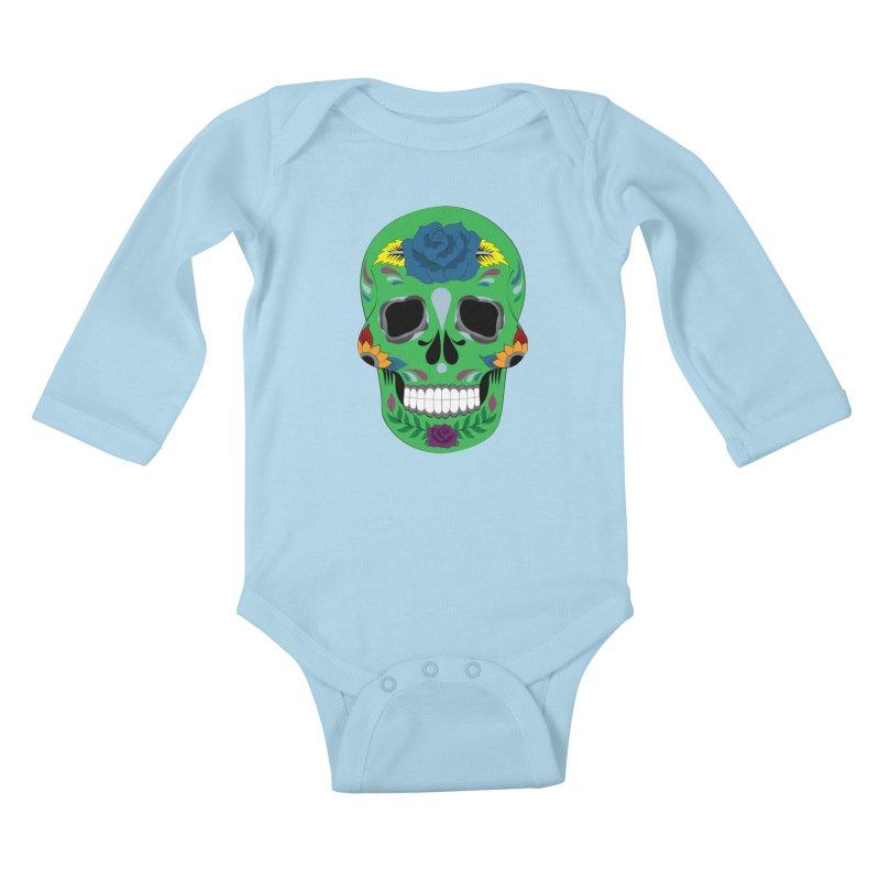 Green Sugar Skull Kids Baby Longsleeve Bodysuit by Working Whatnot's Artist Shop