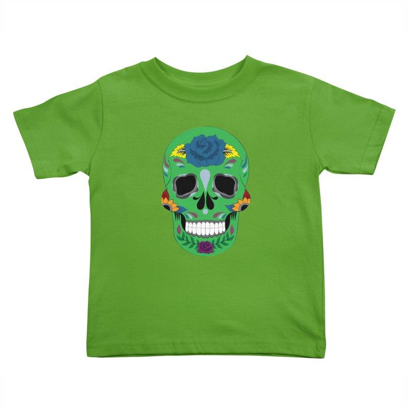 Green Sugar Skull Kids Toddler T-Shirt by Working Whatnot's Artist Shop