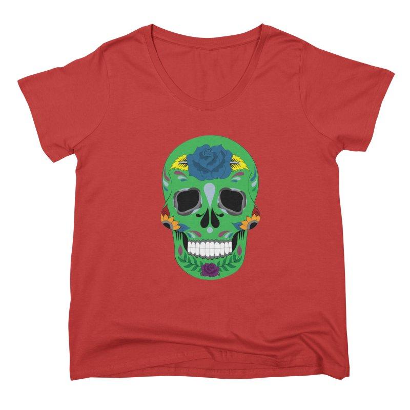 Green Sugar Skull Women's Scoop Neck by Working Whatnot's Artist Shop