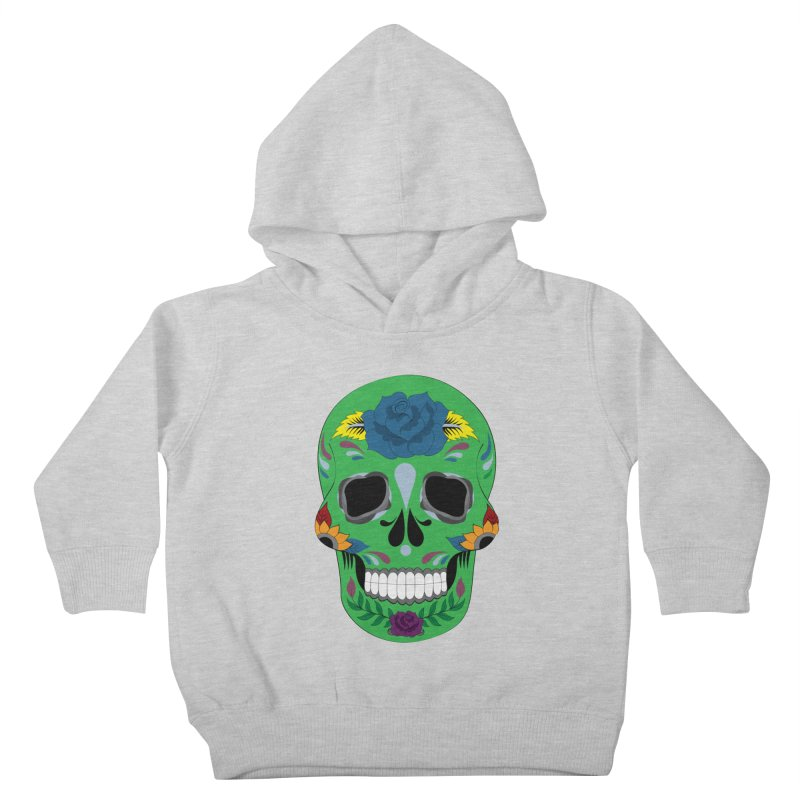 Green Sugar Skull Kids Toddler Pullover Hoody by Working Whatnot's Artist Shop