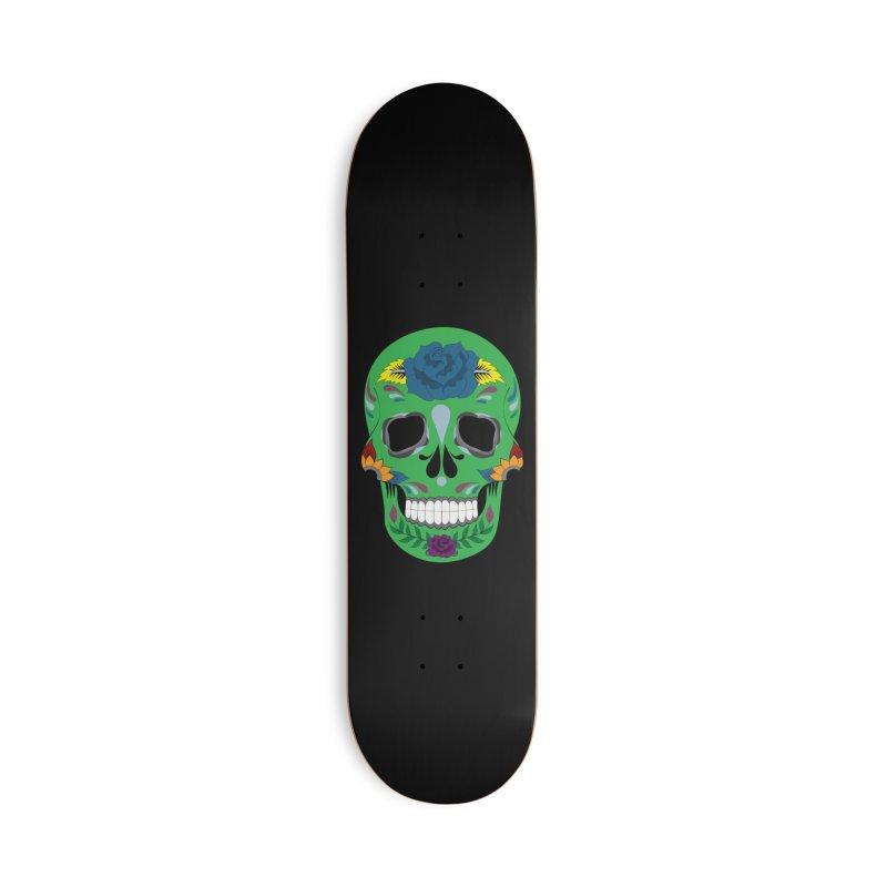 Green Sugar Skull Accessories Skateboard by Working Whatnot's Artist Shop