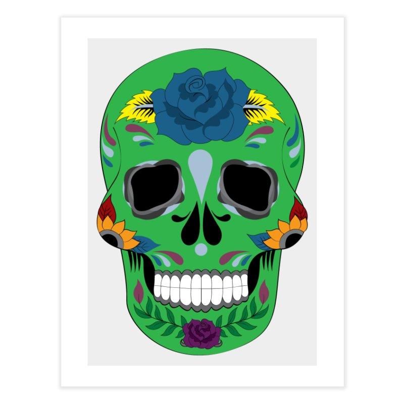 Green Sugar Skull Home Fine Art Print by Working Whatnot's Artist Shop