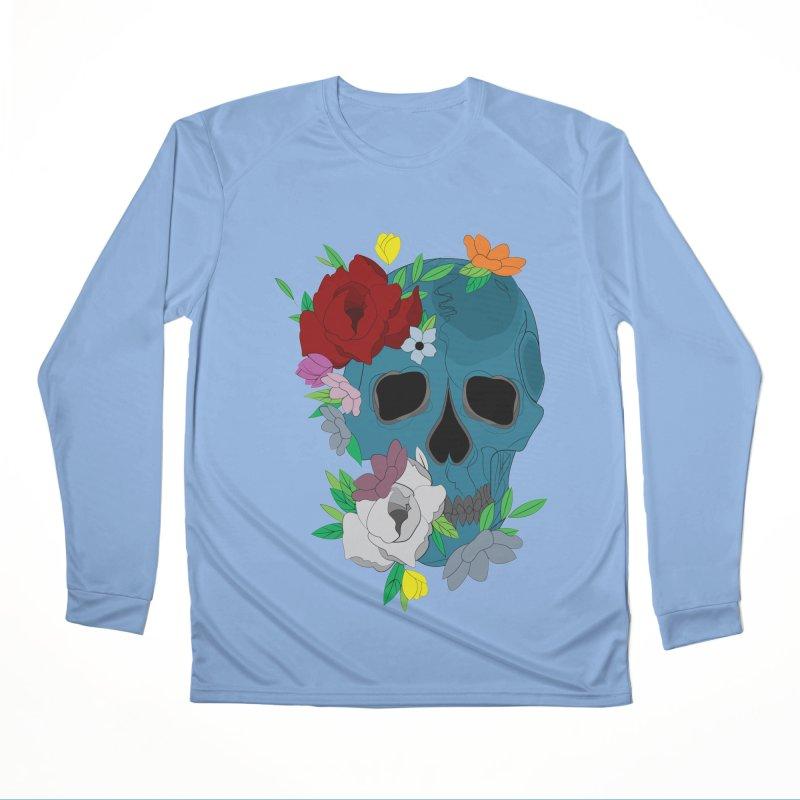 Blue Skull Candy Women's Longsleeve T-Shirt by Working Whatnot's Artist Shop