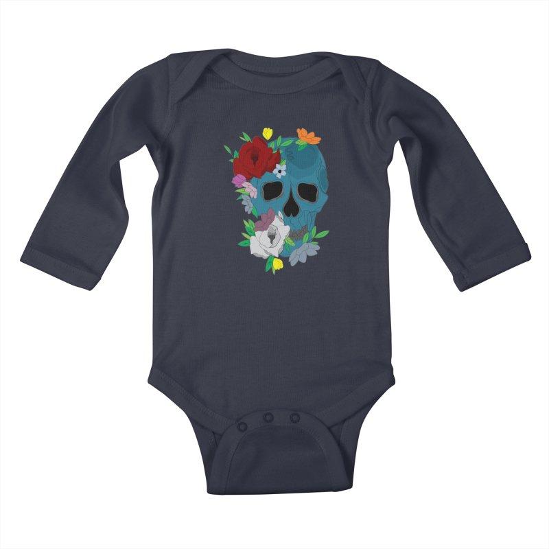 Blue Skull Candy Kids Baby Longsleeve Bodysuit by Working Whatnot's Artist Shop