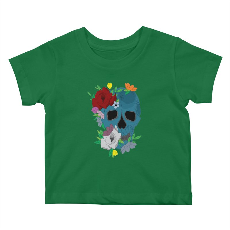 Blue Skull Candy Kids Baby T-Shirt by Working Whatnot's Artist Shop