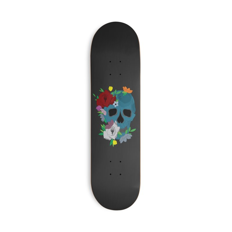 Blue Skull Candy Accessories Skateboard by Working Whatnot's Artist Shop