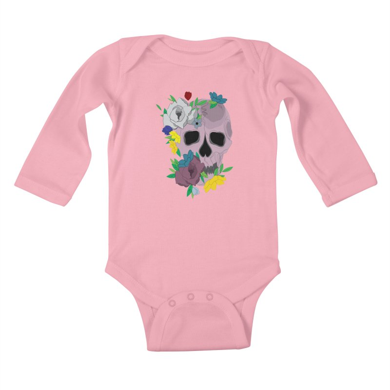 Pink Skull Candy Kids Baby Longsleeve Bodysuit by Working Whatnot's Artist Shop