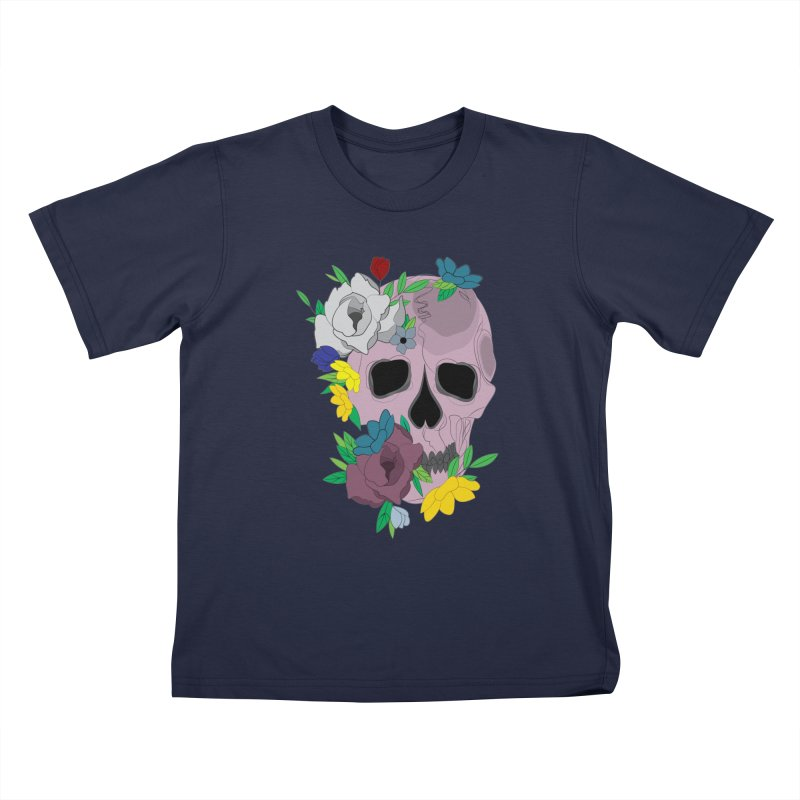 Pink Skull Candy Kids T-Shirt by Working Whatnot's Artist Shop