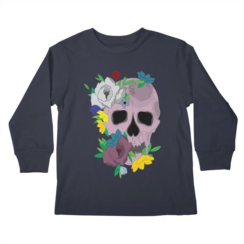 Pink Skull Candy Kids Longsleeve T-Shirt by Working Whatnot's Artist Shop