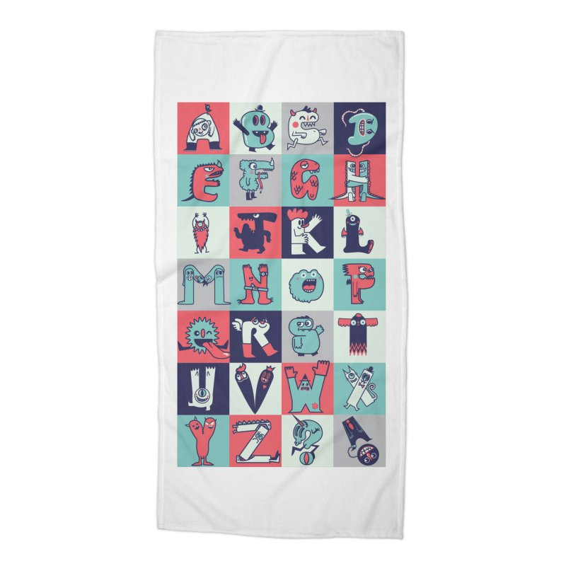 Alphabeasts Accessories Beach Towel by wotto's Artist Shop