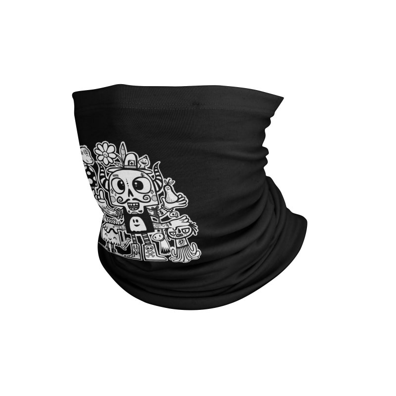 Crossed Eyed Killer Skull Face Accessories Neck Gaiter by wotto's Artist Shop