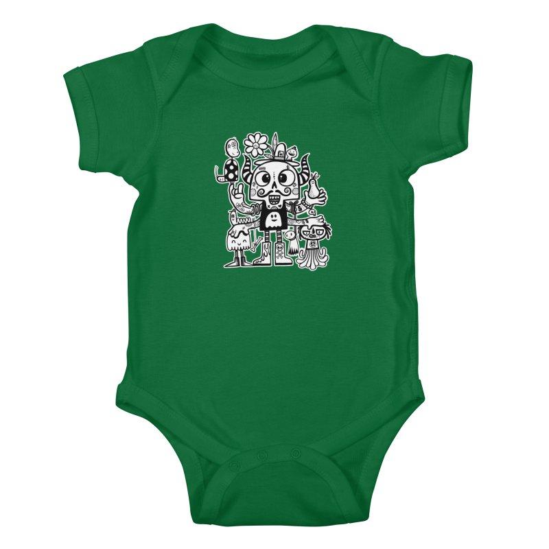 Crossed Eyed Killer Skull Face Kids Baby Bodysuit by wotto's Artist Shop