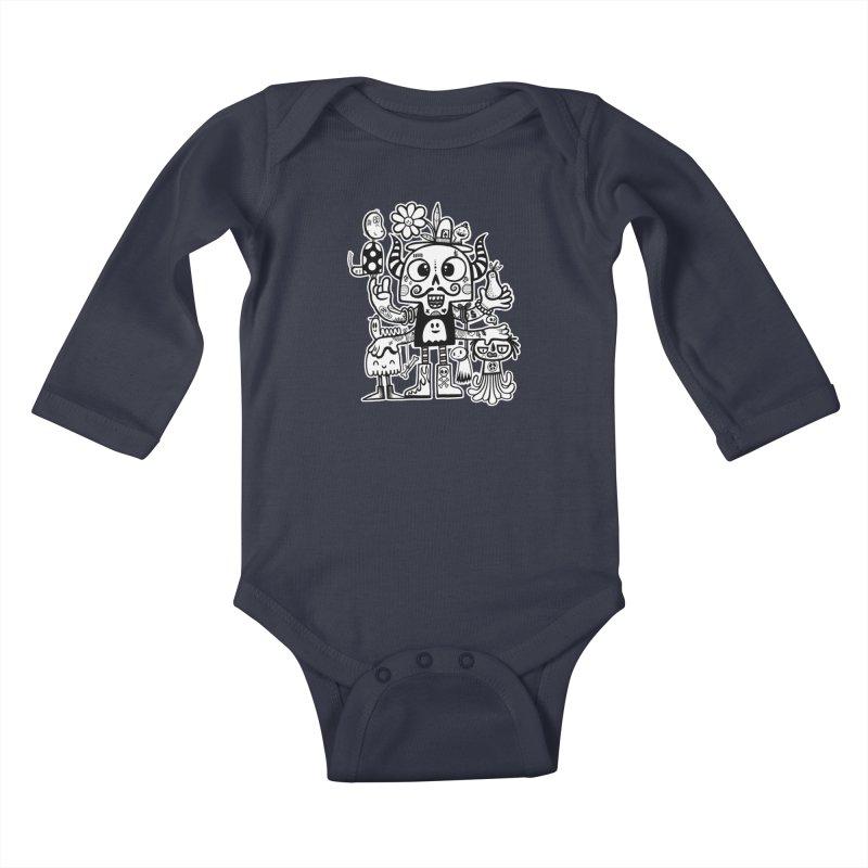 Crossed Eyed Killer Skull Face Kids Baby Longsleeve Bodysuit by wotto's Artist Shop