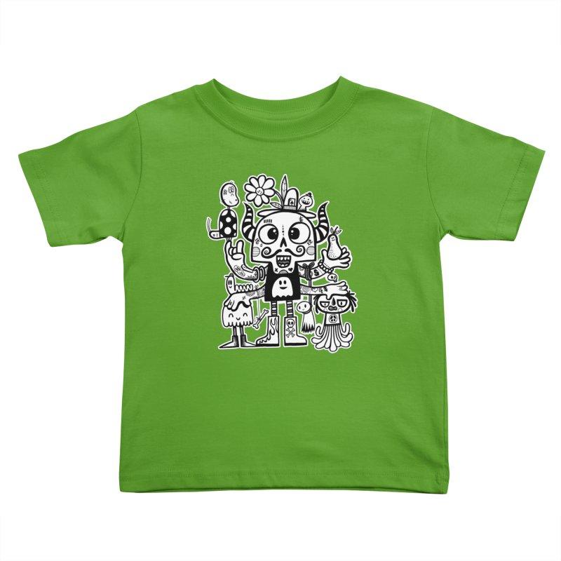 Crossed Eyed Killer Skull Face Kids Toddler T-Shirt by wotto's Artist Shop
